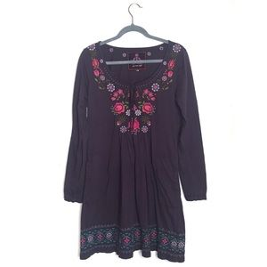 Johnny Was Purple Floral Long Sleeve Dress